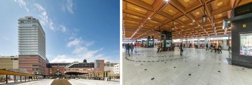駅ビルの外観やコンコースのデザインは、豪華寝台列車「ななつ星in九州」を手掛けた水戸岡鋭治氏による。ランドマークとなる外観には、大分に南蛮文化を伝えた宣教師フランシスコ・ザビエルの居城の要素を取り入れた。コンコースが駅の南側と北側を結ぶ。(写真右:山本巌)