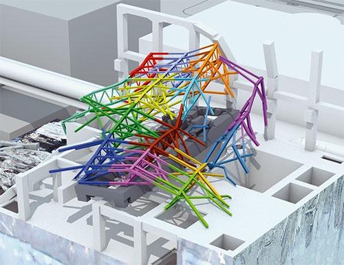 図6■ 3号機原子炉建屋上部のがれきを撤去するために作成した三次元モデル。部材に番号を付け、順番に撤去していった (資料:鹿島)