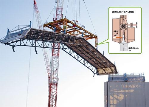 写真1■ 自動玉掛け・玉外し装置を組み込んだ治具(吊り天びん)で屋根パネルを解体する様子。屋根の取り外しに関わった作業員は170人。少数のオペレーターの作業を、準備などを担う大勢の作業員が支える体制だ (写真:東京電力)