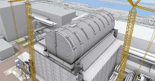 3号機原子炉建屋燃料取り出し用カバーの完成予想図(資料:鹿島)