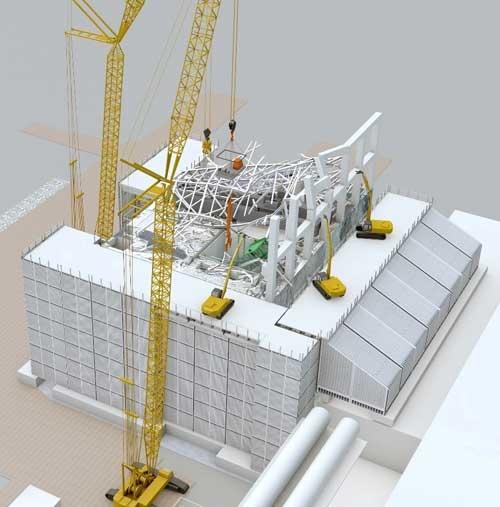 3号機原子炉建屋のがれき撤去のイメージ(資料:鹿島)