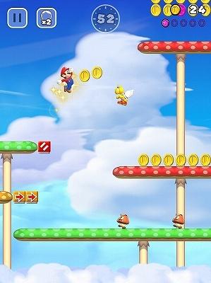 ワールド1-3。そろそろ空中にいるパタパタ(カメ)を踏むことに挑戦しよう。(C)2016 Nintendo