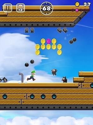 飛空艇を進んでいく。頭上を砲弾が飛び交うので、むやみにジャンプしないのがコツ。(C)2016 Nintendo