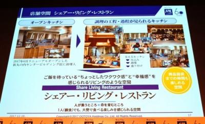 窪田社長はオープンキッチンについて「個食でも大勢で食べている楽しさが味わえる」と説明する