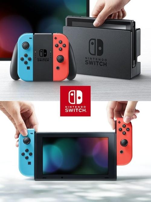 Nintendo Switch(3月3日発売/29980円)。据え置き型ゲーム機でありながら、マシン本体には6.2型の液晶画面が付いており、取り出すと携帯ゲーム機に早変わりする(撮影:磯修)