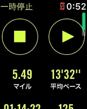 一時停止中の画面には、停止・再開ボタンのほか、距離、平均ペース、経過時間、BPM(心拍数)が表示される