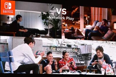 『スプラトゥーン2』紹介時のスライド。集まった友だちとローカル通信で対戦できる楽しさを訴求していた。