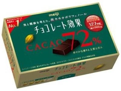 明治の「チョコレート効果」シリーズは現在7アイテムをラインアップ。写真は「チョコレート効果カカオ72%」 (参考小売価格220円)。