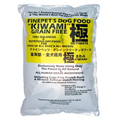 フランス産のケージフリーで育てられたアヒル肉と、天然のオランダ産ニシンを全体重量の9割使用している「FINEPETSドッグフード『極(KIWAMI)』(1.5kg)」(5278円)。アレルギー対応フードではないが、アレルギーを起こしにくい原材料を使用しているという