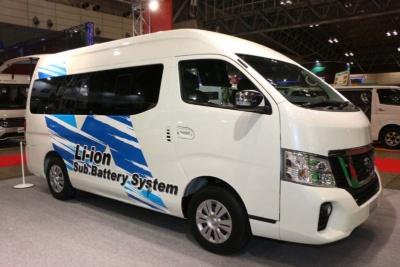 日産の「NV350キャラバン・リチウムイオンバッテリー搭載グランピングカー」(参考出展車)