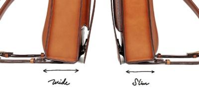 写真は001と「OTONA RANDSEL 001wide」のサイズ比較。わずか1センチのマチ幅の違いで印象が大きく異なる。ちなみに価格はどちらも同じで税込み10万円