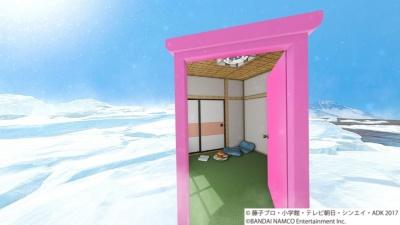 くぐったドアを振り返るとその中にはのび太の部屋が見えるが、ドアの向こう側に回ってもそこは南極の世界だ