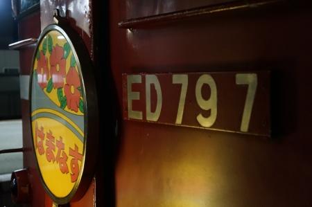 先頭の機関車は立ち入り禁止区域にはみ出して停車。かろうじて撮れたのは連結面のヘッドマークだけだった