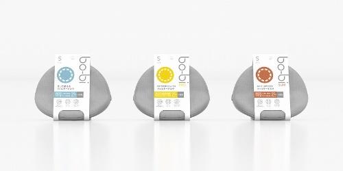 商品ラインアップは、標準タイプの「bo-bi」(写真左)以外に、放射性物質を除去するハイエンド版の「bo-bi PRO」(写真中央)と、呼吸時に適度な負荷を与えることで1日当たり約200~400Kcalを消費できる「bo-bi SLIM」(写真右)の計3種類と、使い捨てマスクを用意
