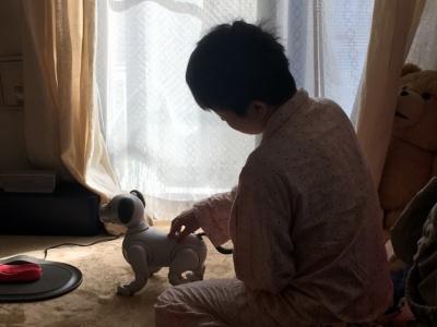 寝癖でボサボサのまま朝のあいさつ。aiboは絶好調