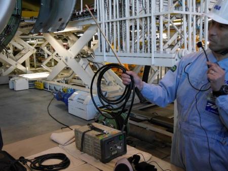 レンズをのぞくタイプのボアスコープは動翼(ブレード)の検査によく使われるそう