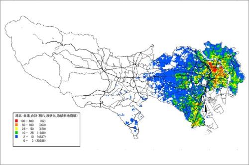 東京湾北部地震による全壊建物棟数の想定分布(東京都発行「首都直下地震等による東京の被害想定 ―概要版―」より転載)