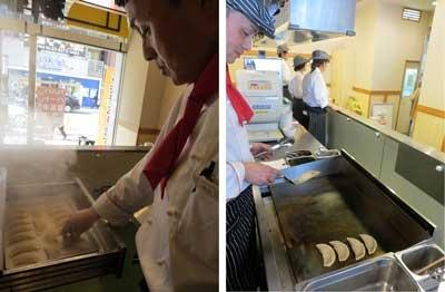 ベースの餃子は「焼き」と「蒸し」の2種類があり、焼きは蒸したあとに鉄板で焼いている