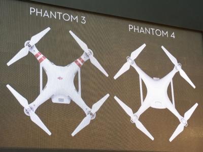Phantom 3に比べて上面から見るとスリムになったPhantom 4。ローターには、新型の空冷式モーターを採用。モーターそのものがデザインの一部となっている