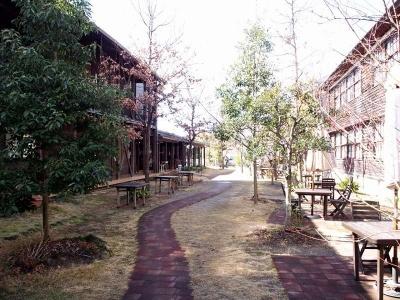 新築のレストラン棟と宿泊棟も里山の木々に囲まれ、すっかりに風景になじんでいる