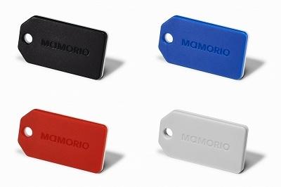 MAMORIOのスマートタグ「MAMORIO」。カラーは「黒」「赤」「青」「灰色」の4種類が選べる。価格は3500円