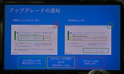 施策の説明会で示された、アップグレードの通知が出た場合の対処の仕方。クリックする場所を間違えないように注意したい