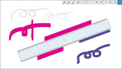Windows Inkでは定規を利用できる。タッチ対応パソコン向きの機能で、定規の角度をタッチ操作で変えて直線や平行線を引ける
