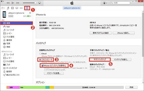 iPhoneを付属のケーブルでパソコンに接続し「iTunes」アプリを起動すると、iPhoneが自動的に認識されアイコンが表示される(1)。これをクリックし「概要」(2)→「このコンピュータ」(3)とクリックする。「iPhoneのバックアップを暗号化」(4)にチェックし、パスワードを設定しよう。「今すぐバックアップ」(5)をクリックすると、すぐにバックアップが始まる