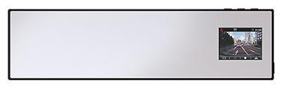 「ミラー一体形」タイプ。ルームミラーの上から被せて使うため、設置は簡単。ルームミラーに映像を表示でき、録画データを確認しやすい。写真はユピテルの「DRY-AS380M」(実売価格2万5000円)