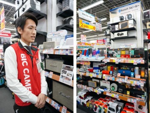 (左)ビックカメラ有楽町店でオーディオ売り場を担当する坪生好龍氏/(右)多種多様なスピーカーが揃う