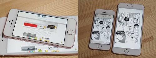 (左)YouTubeの字幕はiPhone SE、iPhone 6s Plusでほぼ同じサイズで表示される<br/>(右)文庫版コミックより2~3回り小さいが、iPhone 6s Plusならコミックを拡大縮小しなくても読み進められる