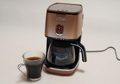 デロンギ「デロンギ ディスティンタコレクション ドリップコーヒーメーカー ICMI011J-CP」(実売価格 税込み2万1380円)。本体サイズ幅170×奥行き230×高さ285mm。本体重量2.2kg。最大タンク容量0.81L