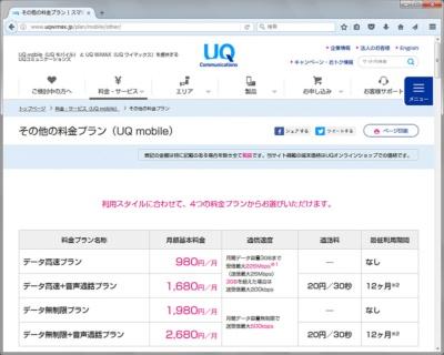 UQ mobileの「データ無制限プラン」ならば、通信速度は最大500kbpsと遅いものの、月額1980円の固定料金で通信できる