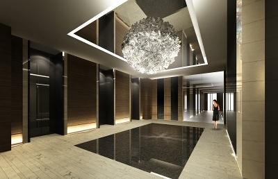 1階エレベーターホールでは、光のインスタレーション作品で知られるアーティスト、松尾高弘氏が手がけたアートシャンデリアが出迎える