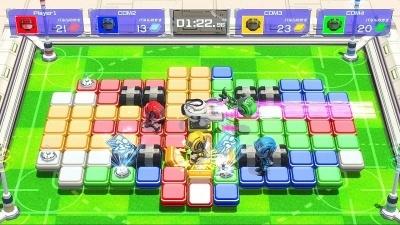 マス目状のステージで、ライバルを妨害しながらの陣取り合戦を楽しめる、Nintendo Switch配信専用ソフトの『バトルスポーツ めく~る』(販売元:OVER FENCE/価格 980円(税別))