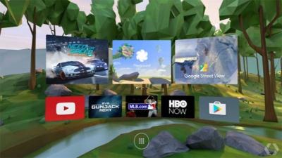 VR空間に浮かんだメニューから、コントローラーを使ってコンテンツを選択していく