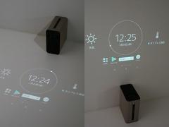 本体の向きを変えることで床にも壁にも投影可能。さらに、投影した画面をタッチして操作できる