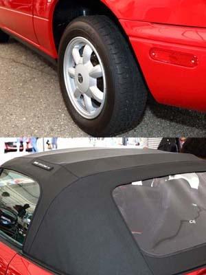 復刻商品化が決まった「ユーノス・ロードスター」のタイヤとソフトトップ(幌)