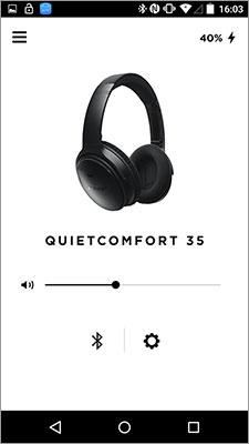 「Bose Connect」の画面。右上にQuietComfort 35のバッテリー残量が表示される