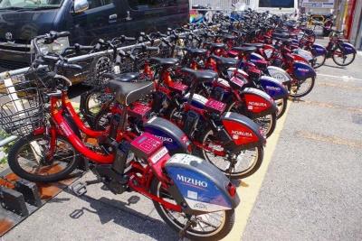 返却予定のポート。駐輪台数が多く、返却用ラックにはまっている自転車の隙間にさらに自転車が入れられている