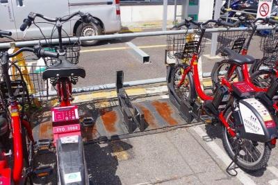 このようにラックが空いていれば、ここに前輪を差し込んで駐車すればいい