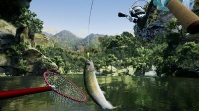 実際のルアーフィッシング同様に、竿先を水面につけるように下げてリールを巻かないと、魚がバレて(針から外れて)逃げてしまう