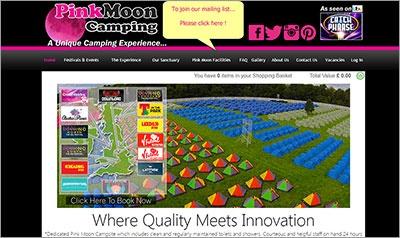 「ピンクムーン キャンピング」のウエブサイト