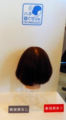 髪を縛ったまま8時間置き、ほどいた状態。右がスマートスタイルで洗髪した髪で、ほとんどくせがついていない
