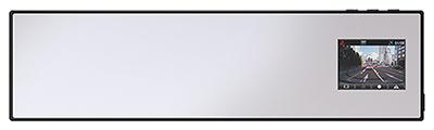 「ミラー一体形」タイプは、ルームミラーの上からかぶせて使う。ルームミラーにモニターが仕込まれており、録画データを確認しやすい。写真はユピテルの「DRY-AS380M」(実売価格2万2000円)