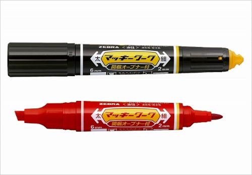 ゼブラ「マッキーワーク」(180円)、インク色は黒と赤がある