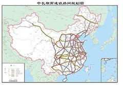最新の高速鉄道規格図(水色:南北方向、緑色:東西方向)