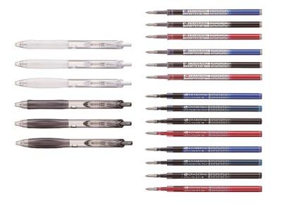 コクヨ「エラベルノ」。2色3種類の軸(100円)と、4色2種類のゲルインクや3色2種類の低粘度油性インク(各100円)を組み合わせて購入するボールペンだ。全通り試せるように買っても2000円で済む