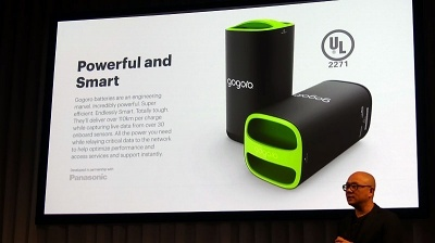 Gogoroのスマートスクーターは、2基のバッテリーで連続100km以上の走行が可能だ。バッテリー製造はパナソニックと提携している