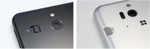 ほぼ同じ場所に緊急ブザーのスイッチがあるが、左のシンプルスマホ3はブザーをアイコンで表示。右のシンプルスマホ2のカタカナ表記に比べると、洗練された印象を受ける
